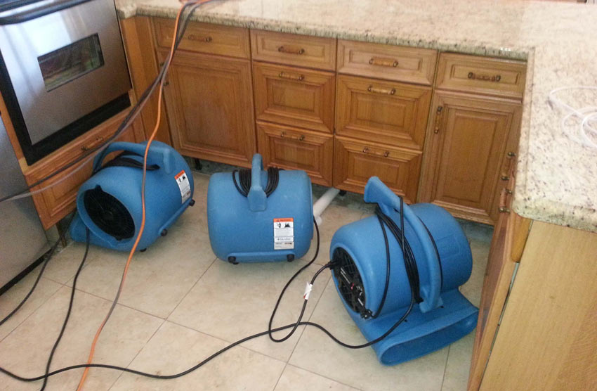 Air movers water damage.